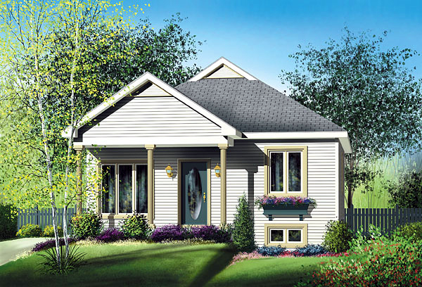 Narrow Lot One-Story Traditional Elevation of Plan 49518