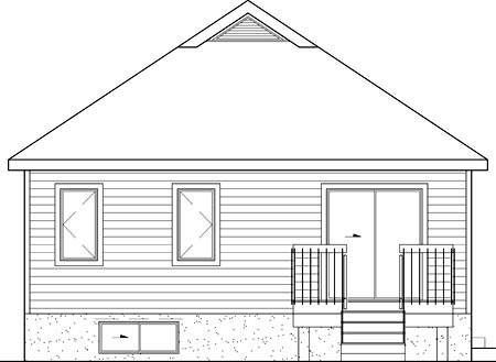 Narrow Lot One-Story Traditional Rear Elevation of Plan 49518