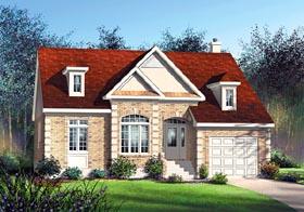 European House Plan 49520 with 3 Beds, 2 Baths, 1 Car Garage Elevation