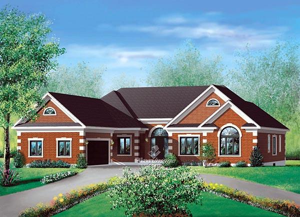 European House Plan 49522 Elevation