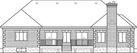 European House Plan 49522 Rear Elevation
