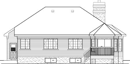 European House Plan 49523 Rear Elevation