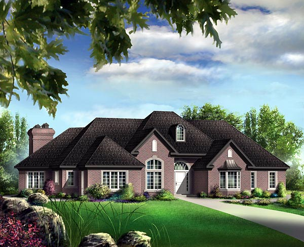European House Plan 49525 with 3 Beds, 3 Baths Elevation