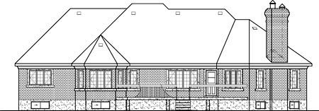 European House Plan 49525 with 3 Beds, 3 Baths Rear Elevation