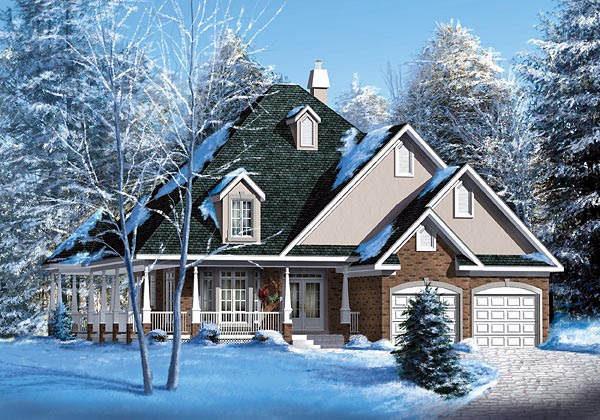 House Plan 49527 | European Style Plan with 1974 Sq Ft, 3 Bedrooms, 2 Bathrooms, 2 Car Garage Elevation