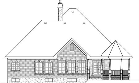 House Plan 49527 | European Style Plan with 1974 Sq Ft, 3 Bedrooms, 2 Bathrooms, 2 Car Garage Rear Elevation