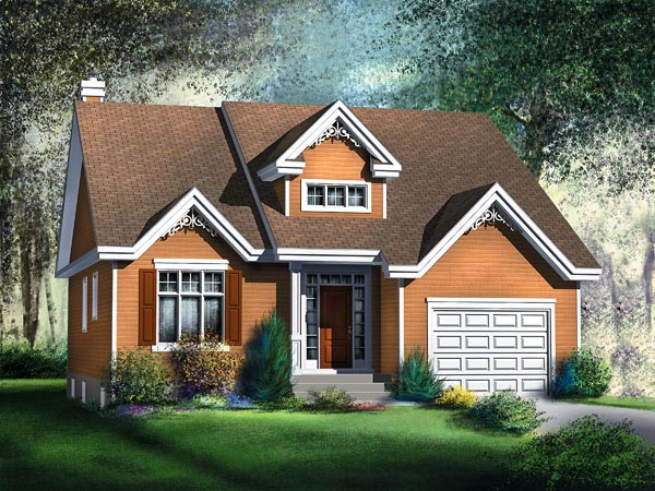 House Plan 49528 | Style Plan with 1367 Sq Ft, 2 Bedrooms, 2 Bathrooms, 1 Car Garage Elevation