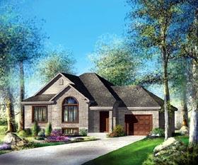 European House Plan 49529 with 3 Beds, 1 Baths, 1 Car Garage Elevation