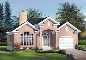 Traditional House Plan 49533 with 2 Beds, 1 Baths, 1 Car Garage Elevation