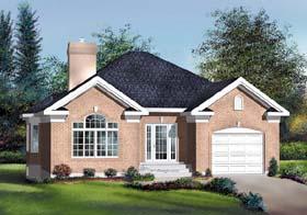 European House Plan 49539 with 2 Beds, 1 Baths, 1 Car Garage Elevation