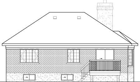 European House Plan 49539 Rear Elevation