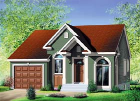 European House Plan 49540 with 2 Beds, 1 Baths, 1 Car Garage Elevation