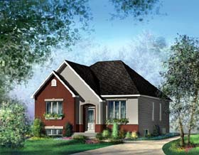European House Plan 49542 with 3 Beds, 1 Baths Elevation