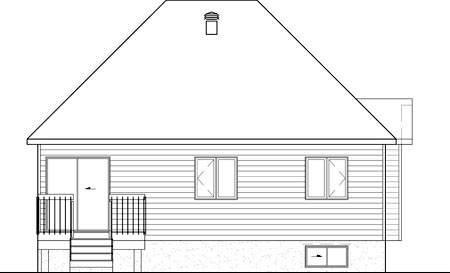 European House Plan 49542 Rear Elevation