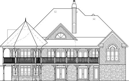 European , One-Story , Rear Elevation of Plan 49547