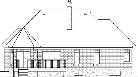 European House Plan 49551 Rear Elevation