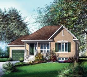 House Plan 49552 with 2 Beds, 1 Baths, 1 Car Garage Elevation