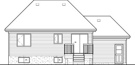 House Plan 49552 with 2 Beds, 1 Baths, 1 Car Garage Rear Elevation
