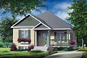 House Plan 49553 | Craftsman Style House Plan with 892 Sq Ft, 2 Bed, 1 Bath Elevation