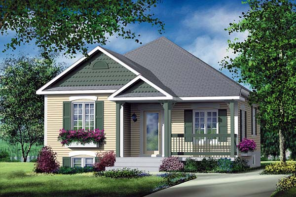 Craftsman House Plan 49553 with 2 Beds, 1 Baths Elevation