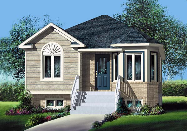 European Narrow Lot One-Story Elevation of Plan 49554