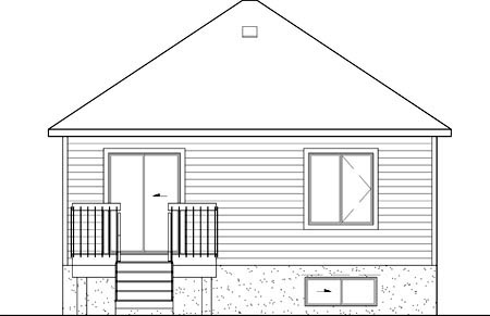 European Narrow Lot One-Story Rear Elevation of Plan 49554