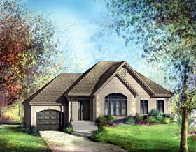 European House Plan 49556 with 2 Beds, 1 Baths, 1 Car Garage Elevation