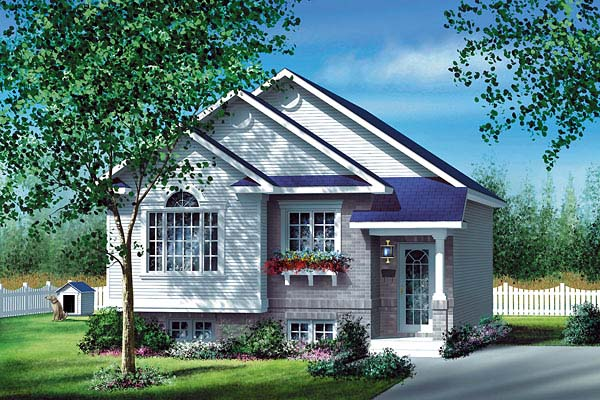 Narrow Lot, One-Story House Plan 49557 with 2 Beds , 1 Baths Elevation