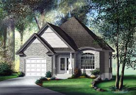 European House Plan 49560 with 2 Beds, 2 Baths, 1 Car Garage Elevation