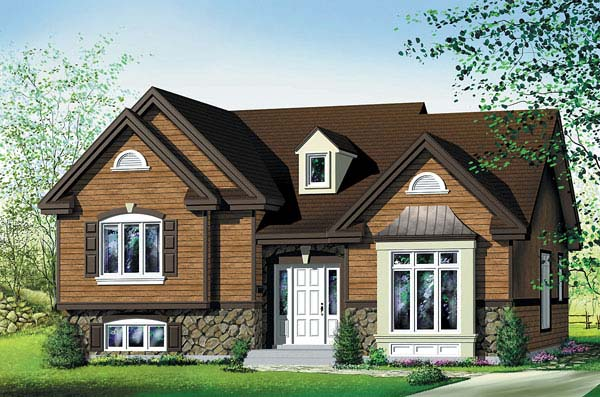 Craftsman House Plan 49561 with 3 Beds, 2 Baths Elevation