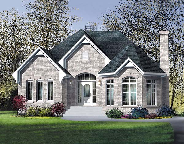 Narrow Lot One-Story Victorian Elevation of Plan 49564