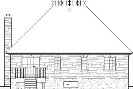 Narrow Lot, One-Story, Victorian House Plan 49564 with 3 Beds, 1 Baths Rear Elevation