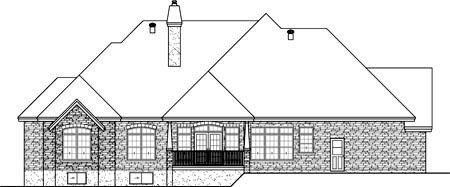 European House Plan 49568 Rear Elevation
