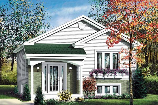 Narrow Lot, One-Story, Traditional House Plan 49569 with 2 Beds, 1 Baths Elevation