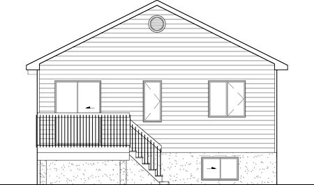 Narrow Lot, One-Story, Traditional House Plan 49569 with 2 Beds, 1 Baths Rear Elevation