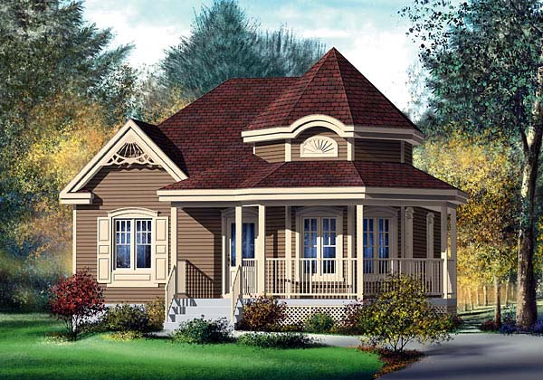 Victorian House Plan 49571 with 2 Beds, 1 Baths Elevation