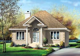 House Plan 49572 | Colonial Style Plan with 1257 Sq Ft, 2 Bedrooms, 1 Bathrooms Elevation