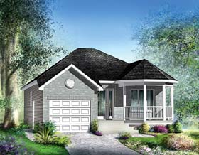 House Plan 49578 | European Style Plan with 988 Sq Ft, 2 Bedrooms, 1 Bathrooms, 1 Car Garage Elevation