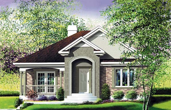 Craftsman, Narrow Lot, One-Story House Plan 49579 with 2 Beds, 1 Baths Elevation