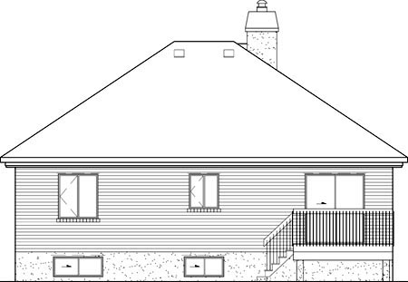 Craftsman, Narrow Lot, One-Story House Plan 49579 with 2 Beds, 1 Baths Rear Elevation