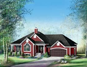 European House Plan 49586 with 3 Beds, 2 Baths, 2 Car Garage Elevation