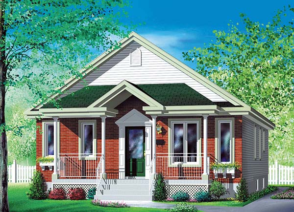 Narrow Lot, One-Story House Plan 49587 with 4 Beds, 1 Baths Elevation