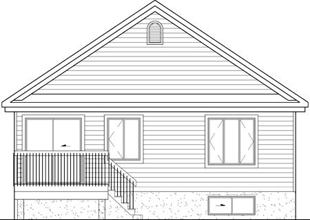 Narrow Lot, One-Story House Plan 49587 with 4 Beds, 1 Baths Rear Elevation