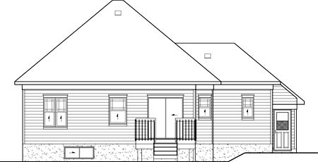 European House Plan 49588 Rear Elevation