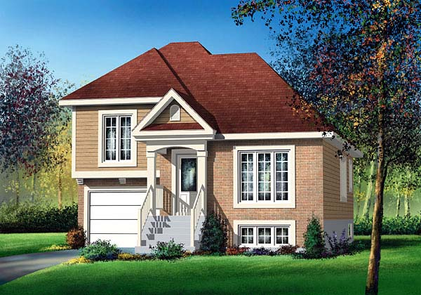 European, Narrow Lot House Plan 49595 with 2 Beds, 1 Baths, 1 Car Garage Elevation