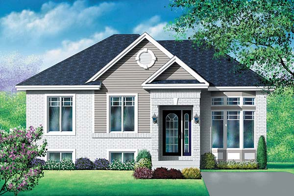 Craftsman, Narrow Lot, One-Story House Plan 49596 with 4 Beds, 1 Baths Elevation