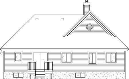 European House Plan 49597 Rear Elevation