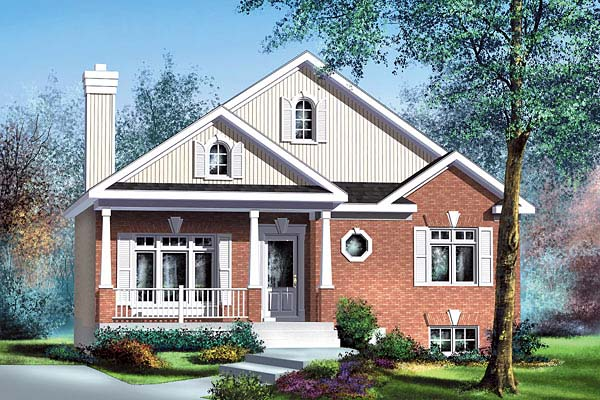 Bungalow, Narrow Lot, One-Story House Plan 49598 with 2 Beds, 1 Baths Front Elevation