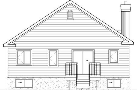 Bungalow, Narrow Lot, One-Story House Plan 49598 with 2 Beds, 1 Baths Rear Elevation