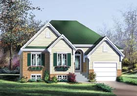 House Plan 49599 | European Style Plan with 1200 Sq Ft, 2 Bed, 2 Bath, 1 Car Garage Elevation